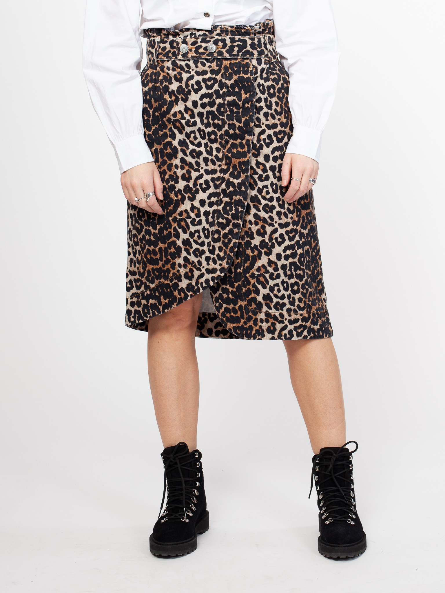 Ganni | Print Denim Skirt Leopard –| Retro