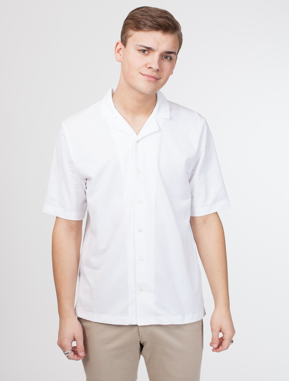c78c9175 SUNSPEL | Short Sleeve Pique Shirt White - T-skjorte