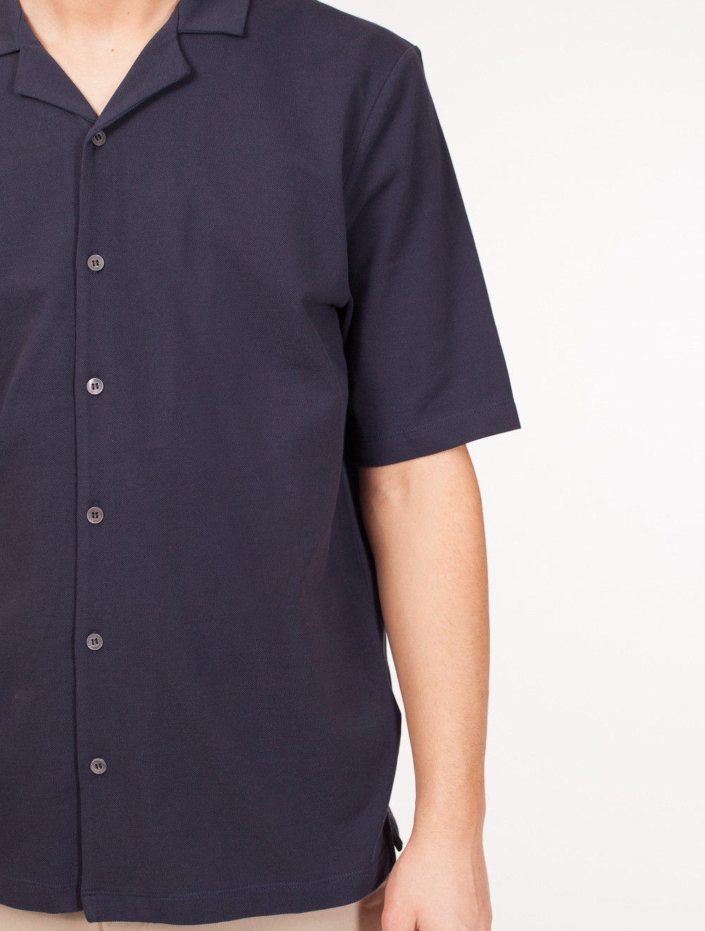 36d31341 SUNSPEL | Short Sleeve Pique Shirt Navy - T-skjorte
